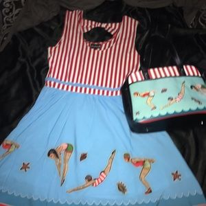 New with tags tattooed divers dress bowler purse